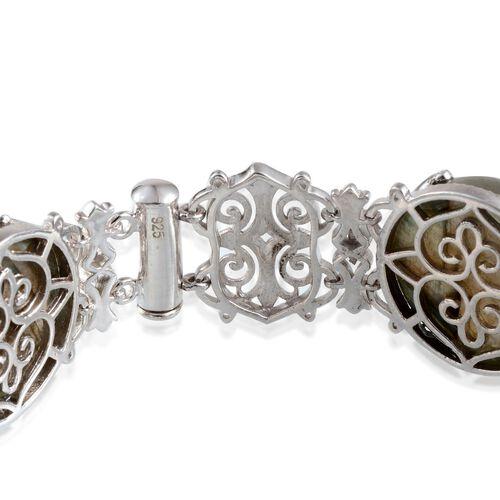 Labradorite (Rnd) Bracelet (Size 7.5) in Platinum Overlay Sterling Silver 137.250 Ct.