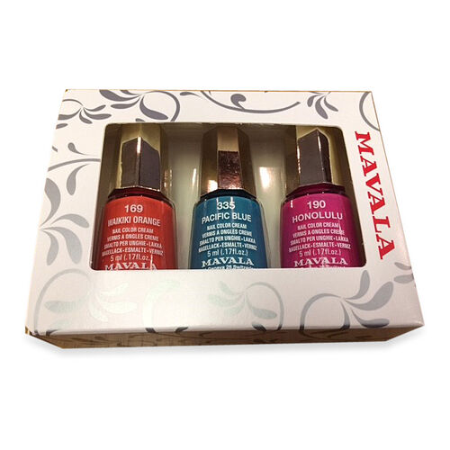MAVALA- 3 pcs Nail Polish Set Waikiki Orange 169, Pacific Blue 335 and Honolulu 190