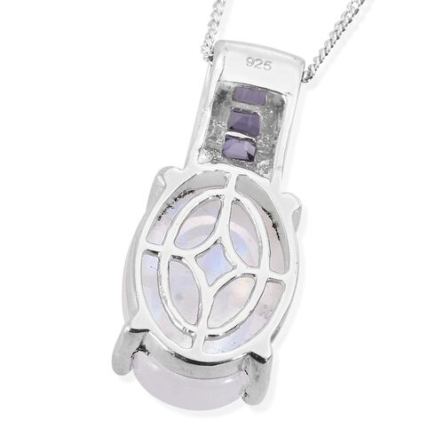 Rainbow Moonstone (Ovl), Iolite Pendant with Chain in Platinum Overlay Sterling Silver 7.500 Ct.