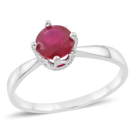 African Ruby (Rnd) Solitaire Ring in Rhodium Plated Sterling Silver 1.000 Ct.