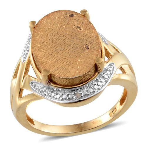 Meteorite (Ovl 14.00 Ct), Diamond Ring in 14K Gold Overlay Sterling Silver 14.010 Ct.