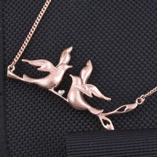 Kimberley Come Fly With Me Collection Platinum and Rose Gold Overlay Sterling Silver Necklace (Size 18), Silver wt 10.94 Gms.