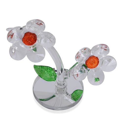 Home Decor - Orange, White and Green Austrian Crystal, White Glass Two Flowers