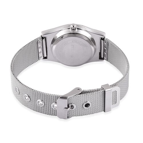 STRADA Japanese Movement Silver Dial Water Resistant Watch in Silver Tone with Stainless Steel Back and Chain Strap