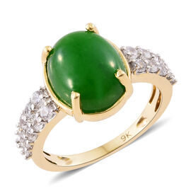 9K Y Gold Green Jade (Ovl 5.50 Ct), Natural Cambodian Zircon Ring 6.310 Ct.