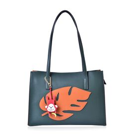 LIMITED COLLECTION Genuine Leather Orange Leaf Pattern Dark Green Colour Tote Bag with Monkey Charm (Size 35x24x11 Cm)