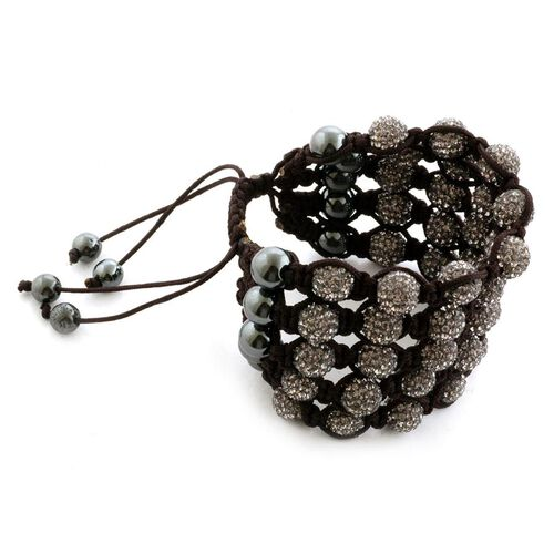 Silver Grey Austrian Crystal and Hematite 5 Row Bracelet (Adjustable) 31.000 Ct.