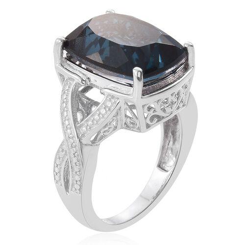 Indicolite Quartz (Cush) Ring in Platinum Overlay Sterling Silver 11.000 Ct.