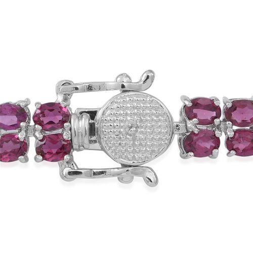 Rhodolite Garnet (Ovl) Bracelet (Size 7.5) in Rhodium Plated Sterling Silver 20ct.