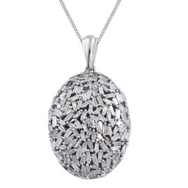 Limited Edition- Designer Inspired- Fire Cracker Diamond (Bgt) Cluster Pendant with Chain (Size 18) in Platinum Overlay Sterling Silver 1.510 Ct.