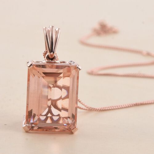 Galileia Blush Pink Quartz (Oct) Pendant With Chain in Rose Gold Overlay Sterling Silver 12.500 Ct.