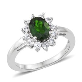 Russian Diopside (Ovl), Natural Cambodian Zircon Ring in Platinum Overlay Sterling Silver 1.250 Ct.