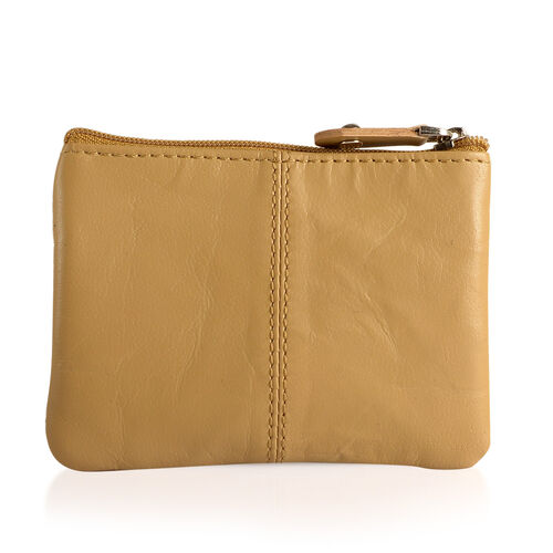 Set of 3 - Genuine Leather Beige Colour Coin Pouch (Size 11x8 Cm), Card Holder (Size 10x7 Cm) and Money Clip (Size 12x8 Cm)