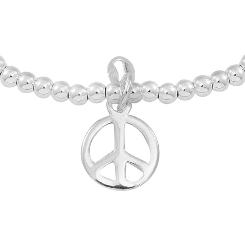 Designer Inspired Sterling Silver Peace Charm Stretchable Bracelet, Silver wt 3.74 Gms.