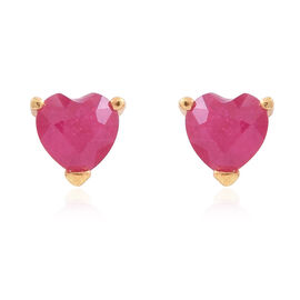 Tucson Collection- Close Out Deal-AAA African Ruby (Hrt) Stud Earrings (with Push Back) in 14K Gold Overlay Sterling Silver 1.250 Ct.