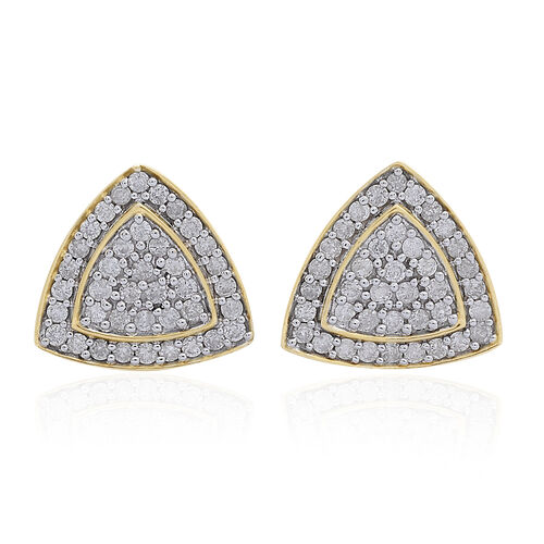 9K Yellow Gold SGL Certified Diamond (Trl) (I3 G-H) Stud Earrings (with Push Back) 1.000 Ct.