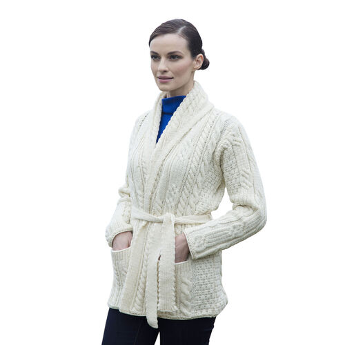 Carraig Donn 100% Merino Wool Knitted Women Cardigan with Tie- Off White - M size
