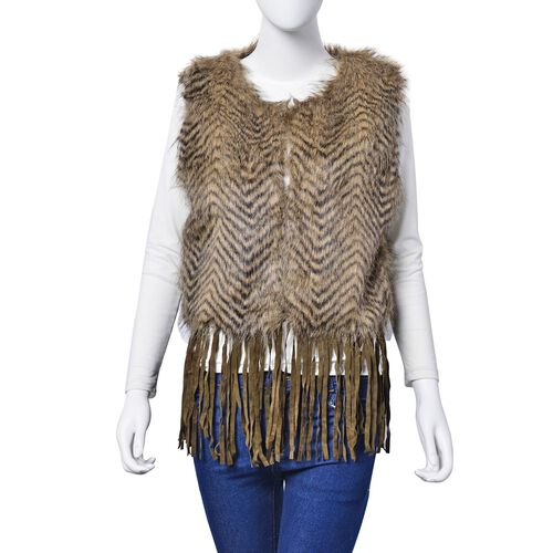 Coffee and Black Colour Faux Fur Vest with Tassels (Size 50x45 Cm)