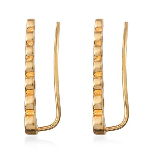 J Francis - 14K Gold Overlay Sterling Silver (Rnd) Climber Earrings Made with SWAROVSKI ZIRCONIA