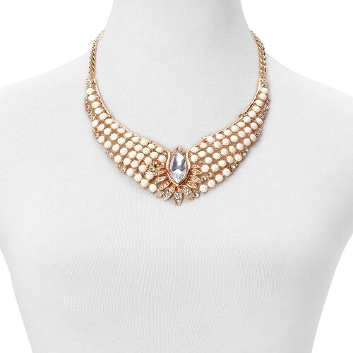 Glamour Edition - Simulated White Diamond, White Austrian Crystal and Pink Austrian Crystal BIB Necklace (Size 18 with 2 inch Extender) and Hook Earrings in Yellow Gold Tone