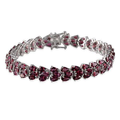 Orissa Rhodolite Garnet (Pear) Bracelet (Size 7.5) in Platinum Overlay Sterling Silver 21.000 Ct.
