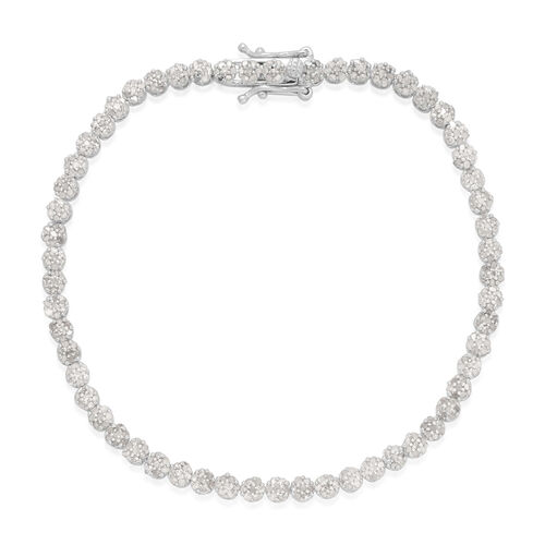 Single Cut (8 - 8) Diamond (Rnd) Bracelet (Size 7) in Platinum Overlay Sterling Silver 2.000 Ct.