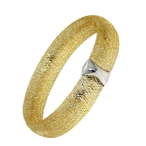 ILIANA 18K Y Gold Made in Italy Designer Inspired Mesh Stretchable Bangle (Size 7.5), Gold wt 5.67 Gms.