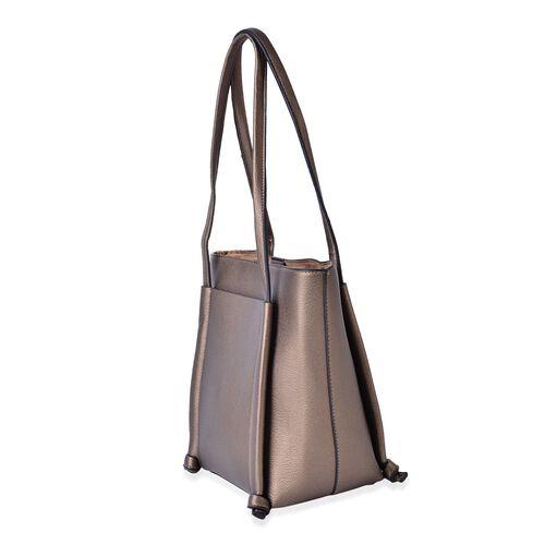 Bronze Colour Tote Bag (Size 33x28x22x14 Cm)