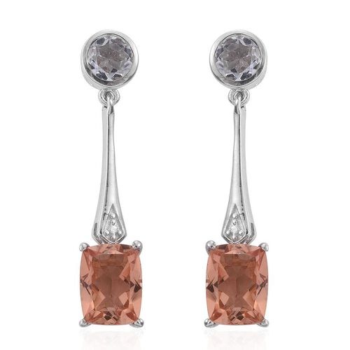 Galileia Blush Pink Quartz (Cush), White Topaz Earrings (with Push Back) in Platinum Overlay Sterling Silver 5.750 Ct.