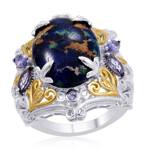 Designer Collection Azurite (Ovl 14.26 Ct), Tanzanite Ring in 14K YG and Platinum Overlay Sterling Silver 15.240 Ct.