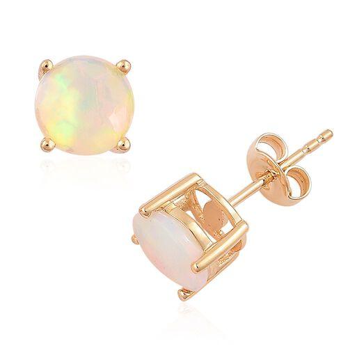 ILIANA 18K Y Gold AAA Ethiopian Welo Opal (Rnd) Stud Earrings (with Push Back) 1.650 Ct.