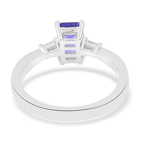 ILIANA 18K White Gold 1.10 Ct AAA Tanzanite Ring with Diamond (SI/G-H)