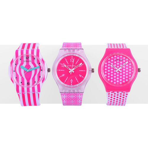 Set of 3 - STRADA Japanese Movement Pink and White Colour Stripes, Polka Dots and Floral Pattern Watch with Silicone Strap