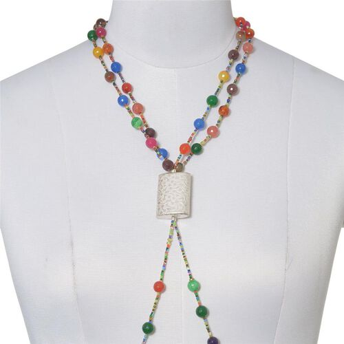Quartzite and Multi Colour Seed Beads Necklace (Size 22) in Silver Tone 515.550 Ct.