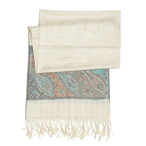 SILK MARK - 100% Superfine Silk Multi Colour Floral and Paisley Pattern Beige Colour Jacquard Jamawar Shawl with Fringes (Size 180x70 Cm) (Weight 125-140 Grams)