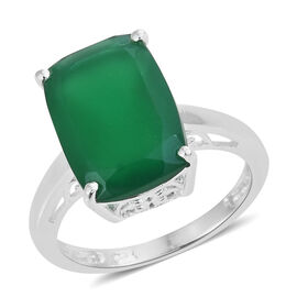 Verde Onyx (Cush 14x10 mm) Ring in Sterling Silver 5.500 Ct.