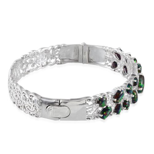 Black Opal (Ovl) Bangle (Size 7.5) in Platinum Overlay Sterling Silver 6.400 Ct.