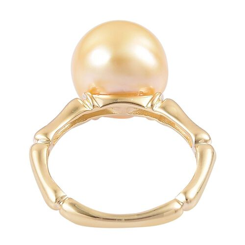 Limited Edition- 9K Y Gold Very Rare AAA South Sea Golden Pearl (Rnd 11.5-12 mm), Diamond (I3/G-H) Ring