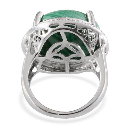 Malachite (Rnd 20.00 Ct), Diamond Ring in ION Plated Platinum Bond 20.010 Ct.
