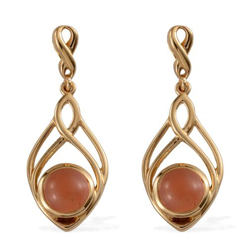 Mitiyagoda Peach Moonstone (Rnd) Earrings (with Push Back) in 14K Gold Overlay Sterling Silver 4.500 Ct.