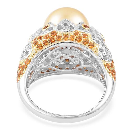 Very Rare AAA South Sea Golden Pearl (Rnd 11.5-12mm), Madeira Citrine and Natural Cambodian Zircon Ring in Rhodium and Yellow Gold Overlay Sterling Silver