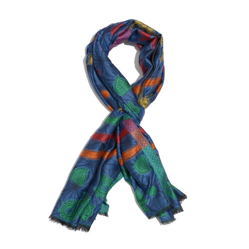 100% Modal Blue, Black and Multi Colour Jacquard Scarf (Size 190x70 Cm)
