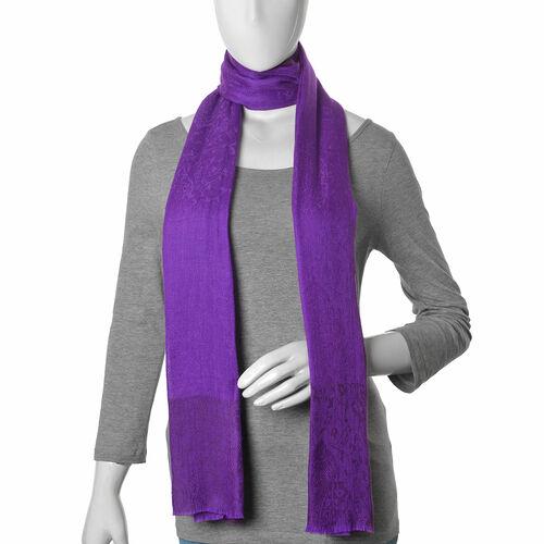 100% Fine Cashmere Wool Purple Colour Self Pattern Shawl (Size 200x70 Cm)