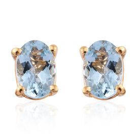 Espirito Santo Aquamarine 0.75 Ct Silver Stud Earrings (with Push Back) in Gold Overlay
