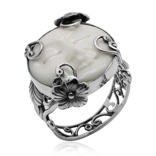 Princess Bali Collection OX Bone Carved Face (Rnd) Ring in Sterling Silver 13.000 Ct.