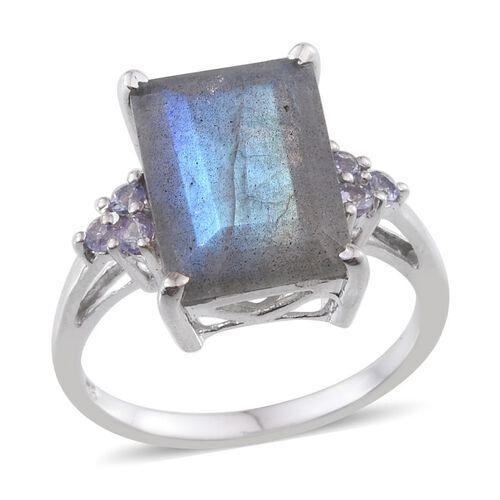 Labradorite (Oct 6.00 Ct), Tanzanite Ring in Platinum Overlay Sterling Silver 6.250 Ct.