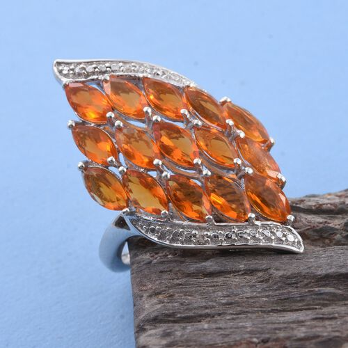 Jalisco Fire Opal (Mrq), Diamond Ring in Platinum Overlay Sterling Silver 2.010 Ct.