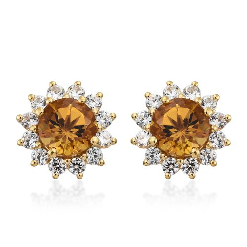 Collectors Edition- Heliodor (Rnd), Natural Cambodian Zircon Stud Earrings (with Push Back) in 14K Gold Overlay Sterling Silver 5.250 Ct.