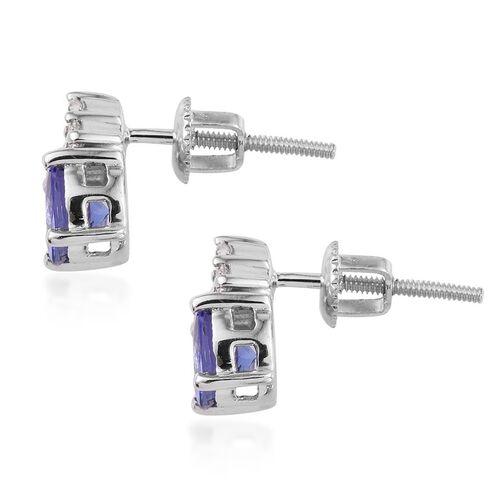 ILIANA 18K White Gold 1.90 Carat AAA Tanzanite Round Stud Earrings, Diamond SI G-H.