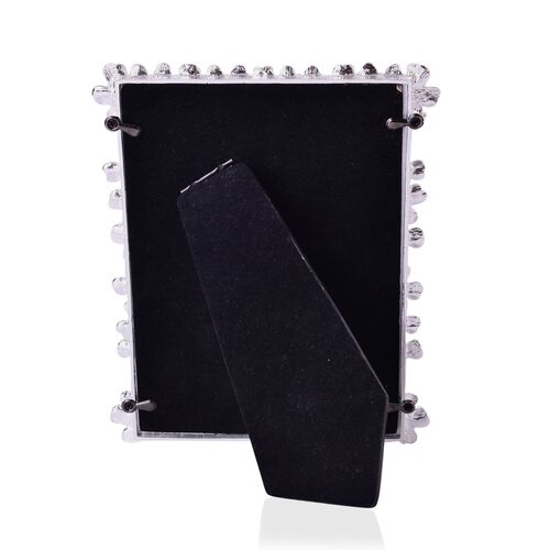 Crystal and Simulated Pearl Studded Rectangular Shape Photo Frame in Silver Tone (Size 18x12 Cm)